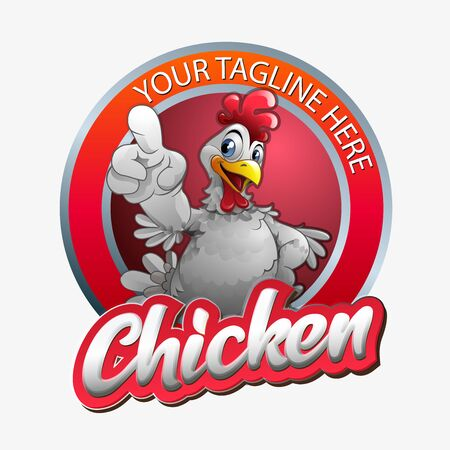 vector illustration, modification of a chicken with a gesture being pointed forward. Illustration