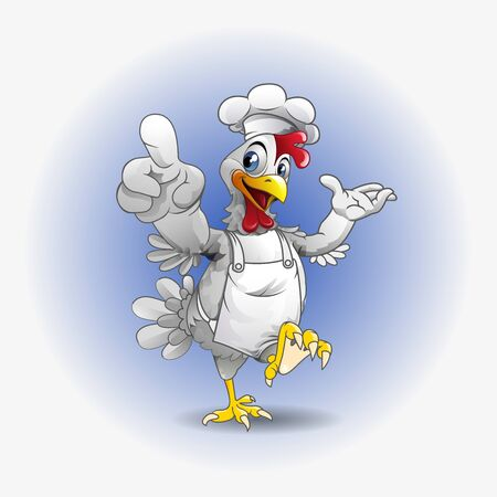 Vector illustration, modification of a chicken as a symbol of master chef.