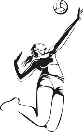 Female volleyball player, vector illustration. Illustration