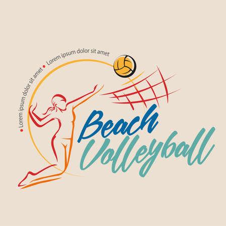 Female beach volleyball symbol or logo event, vector design. Illustration
