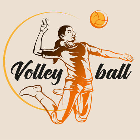 Vector abstract, volleyball player as a symbol