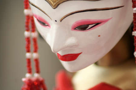 Close up of wayang golek or puppet show characters is one of a variety of puppet arts made of wood.