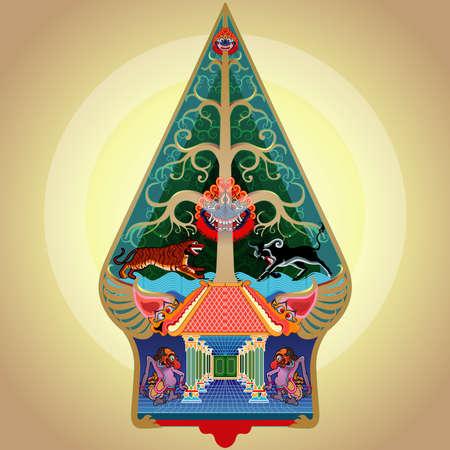 Vector illustration, modified Gunungan or tree of life.