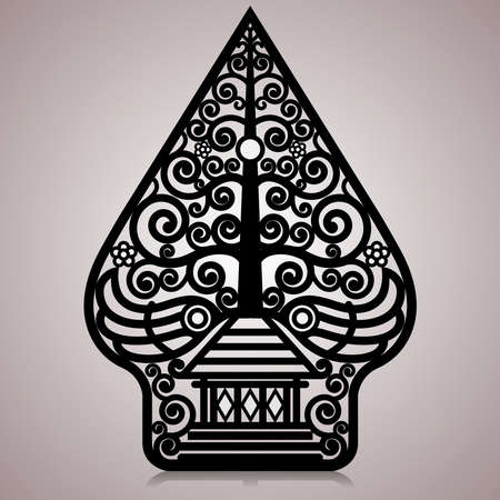 Vector illustration, modified wayang gunungan or tree of life. Vetores