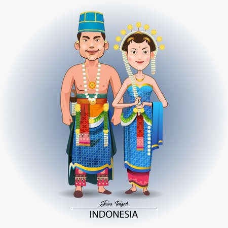 Vector illustration of traditional Javanese wedding dress.