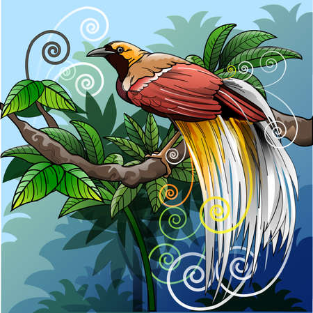 Vector illustration, modified bird of paradise as a symbol of forest environmental sustainability.