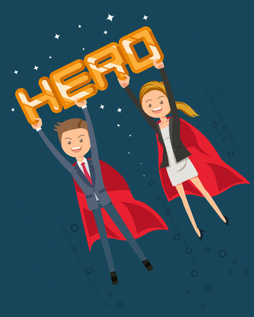 Superhero in crisis work at the office. I need help from people who excel. The happy winner. Power of Leadership