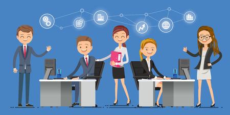 会社のために働くに来る新しい人を気遣います。企業は、お互いを助けます。  イラスト・ベクター素材