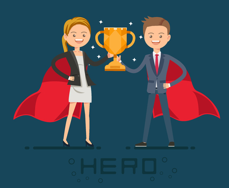 Award of Super hero in crisis work in the office. I need help from people who excel. The happy winner. Illustration