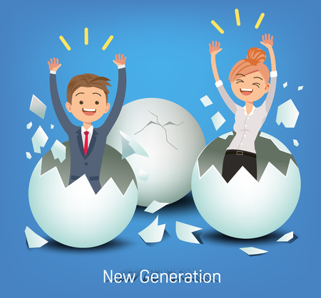 The business man and woman on new generation. New idea to corporation. How to manage human resources.