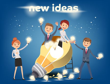 small business: Teamwork to finding a new idea working form. Looking deep into the meaning of the system. Branched of Concept. Illustration