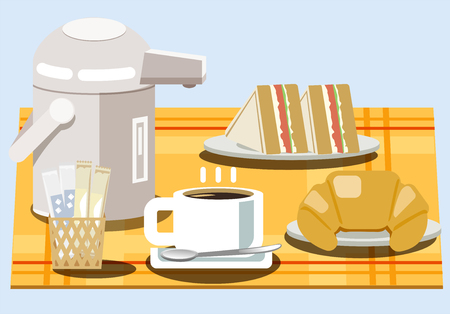 Snacks and coffee in the morning. Service from hotel. Illustration