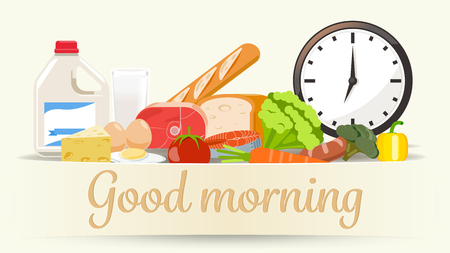 Menu morning. Nutrients are benefit. Food indispensable. Illustration