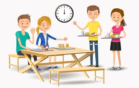 Manger avec de nouveaux amis à la cafétéria. Création d'amitié dans les établissements d'enseignement.