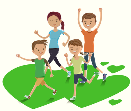 Cute Family show a power at dawn. Fun Fitness. enjoy life with parent. Running in the park.