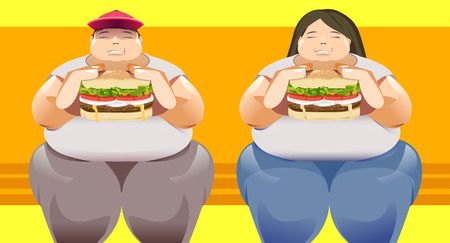 Big man and woman with the overload weight. Health problems of fast food. Social eating. Illustration