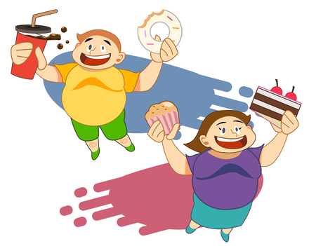 fat boy and woman happy with dessert.Obese people. Fast Food concept. Character present about healthy care. Illustration