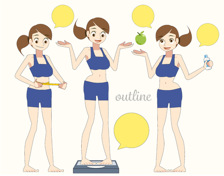 women diet concept. lose weight Introduction to Health Care. outline character for Content..(Cartoon outline).