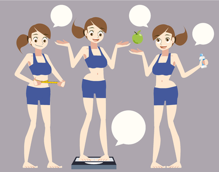 women diet concept. lose weight Introduction to Health Care. flat character for Content. 向量圖像