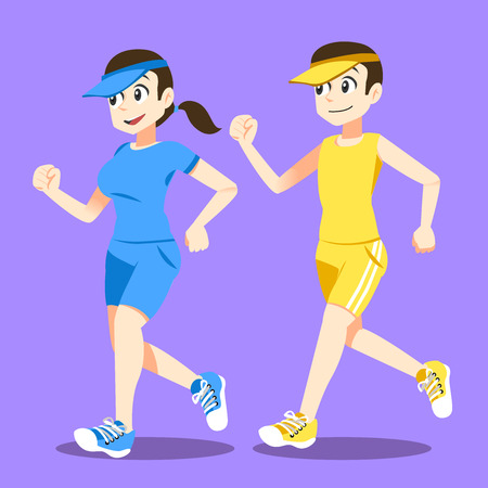 running together. Marathon festival. Relax in the morning. flat character design. Illustration