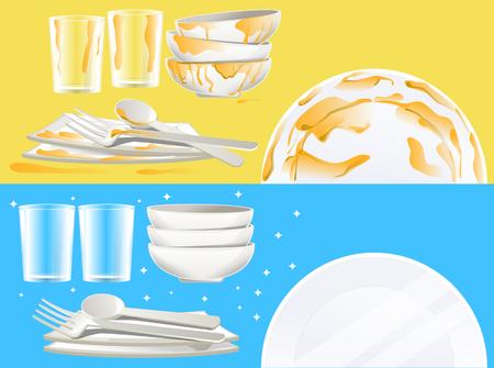 Das Geschirr nach einer Mahlzeit putzen. Banner-Konzept. Spülmittel beste Qualität.