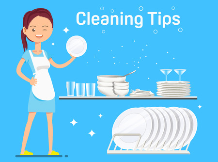 Maid washing dishes and bowls clean. Work with ease. Household products