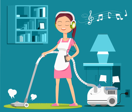 homemaker: Carpet cleaning with a song to relax at work. Maid concept. Household products.