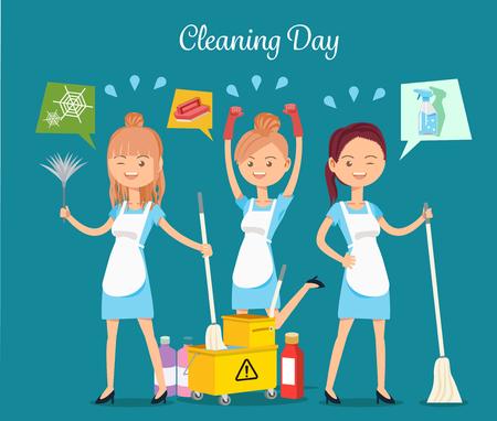 Maid service.Maintaining basic hygiene.Cleaning service maid house cleaning team. Illustration