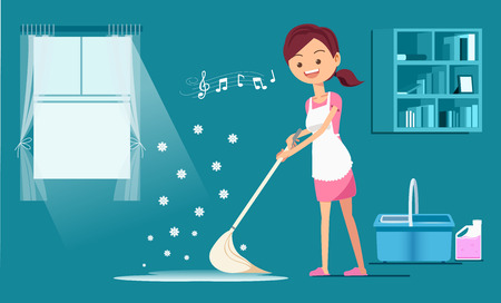 Rub the floor with a fragrant cleanser. Maid service.Maintaining basic hygiene.Cleaning service maid house cleaning team.