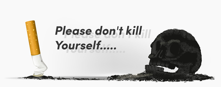 Smoking can lead to death. The problem of smoke. Cigarette is a skull. no.2 Warning in social.