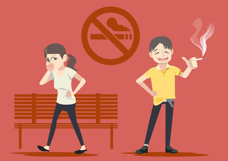 Smoking in public places. Warning in social. Failure to take care of themselves.