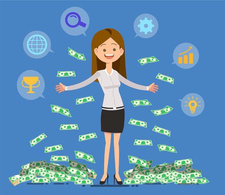 Geld verdienen von der Arbeit. Erfolg für sich. Ziel der neuen Generation. Systematisch Standard-Bild - 85325332