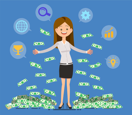 Making money from work. Success by yourself. Goal of the new generation. Systematic Ilustracja