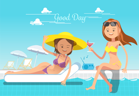 Holiday of woman. Service at the pool. Relax in summer. Illustration