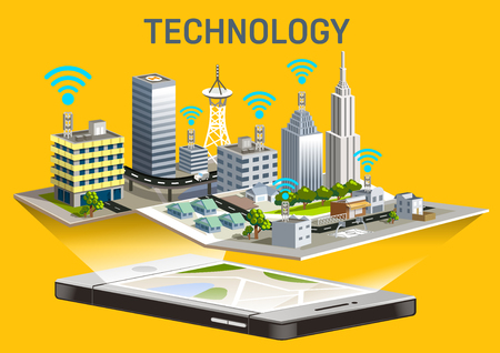 Extensive telephone system in the city. Free wifi service. The town grew rapidly.Map application on smartphone. Illustration