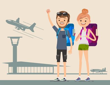 若い旅行者は、世界を飛び回るします。一緒に旅行。外国を冒険します。