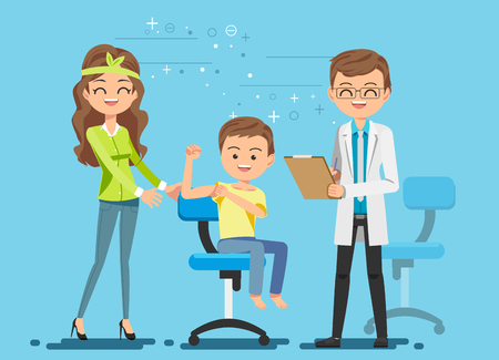 Parents who bring their kid to check the body. Children's Clinic. Treatment is not terrible. Feeling relax. Stock Illustratie
