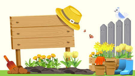 The beginning of basic gardening. Element of spring. Cute concept style. Getting Started in Creating Good Things. Illustration