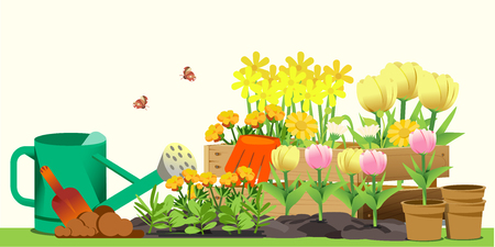 Small garden in back yard. Hello spring. Cute concept style. Vectores