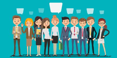 Leute, die Geschäft in der Karikaturart herstellen. Teamwork zum Finden einer neuen Ideenarbeitsform. Ein tiefer Einblick in die Bedeutung des Systems. Vektorgrafik