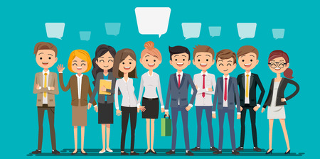 People creating business in cartoon style. Teamwork to finding a new idea working form. Looking deep into the meaning of the system.