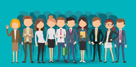 Les gens créent des affaires en style cartoon. Travail d'équipe pour trouver une nouvelle forme de travail. En regardant en profondeur dans la signification du système.