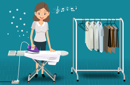 Ironing with a product in a household