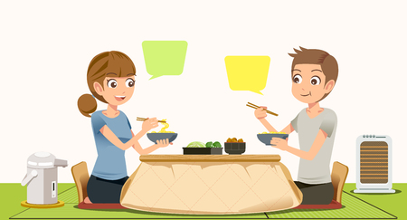 pareja comiendo: Comer en el concepto de casa