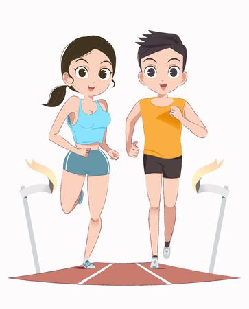 Jogging together concept