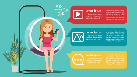Communication via social networks concept Illustration