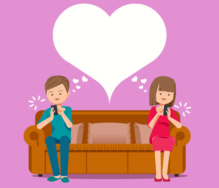Online chat creates love relationships concept