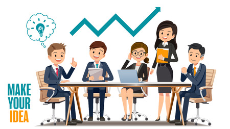 woman laptop: Business meetings together. Make your ideas for growth. Solving problems from working in the office. Illustration