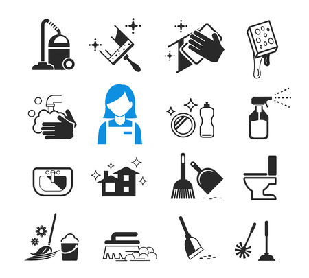Basic Cleaning day icon concept. Happy housework.