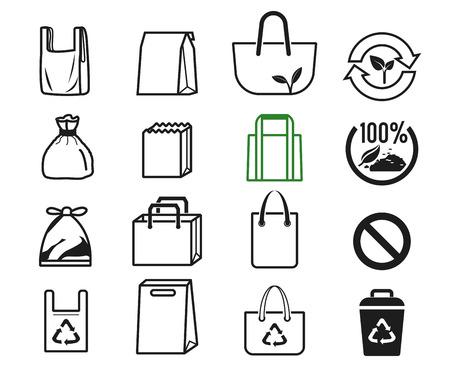 Shopper gebruikte verschillende tassenreekscollectie om in de supermarkt te winkelen. Idee van mensen voor Eco-leven. De oplossing om het broeikaseffect te verminderen. Stock Illustratie